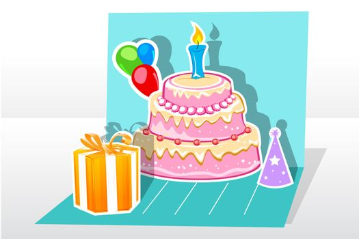 illustration of birthday card  with gift cake balloon on abstract background