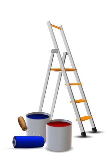 illustration of steps, paint drums and roller on white background