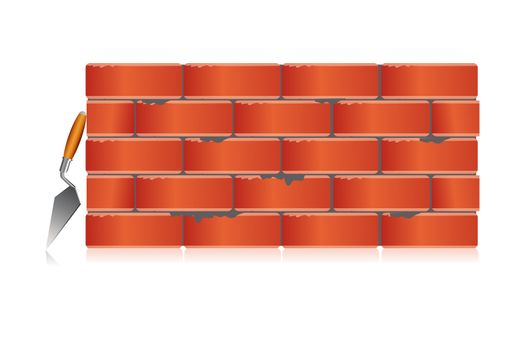 illustration of brick wall with tool on white background