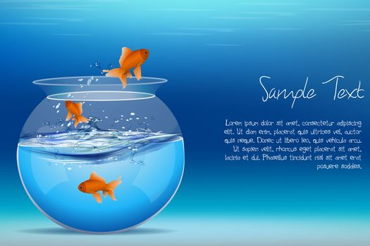 illustration of fishes jumping out of tank on abstract background