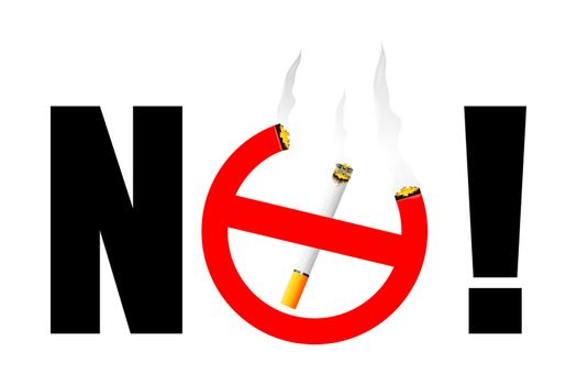 illustration of no smoking with cigarette on white background