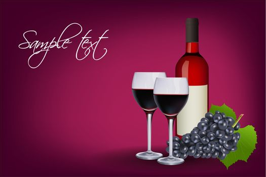 illustration of wine glasses with bottle and grapes on abstract background