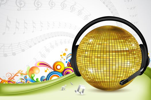 illustration of discoball with head phone on colorful background