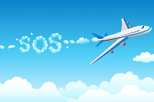 illustration of aeroplane with cloudy sos on abstract background
