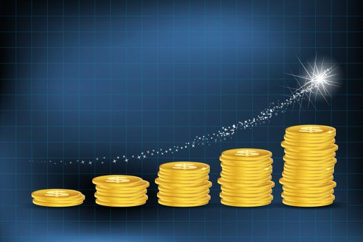 illustration of business graph with dollar coins on abstract background