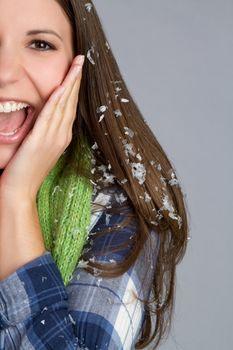 Beautiful happy cold winter woman