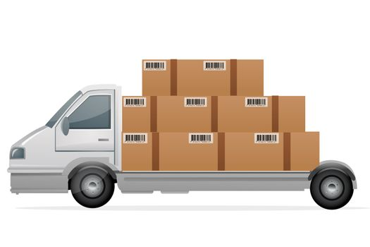illustration of cargo with packets on white background