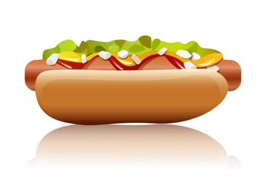 illustration of hot dog on white background