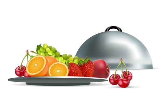 illustration of fresh fruits in plate on white background