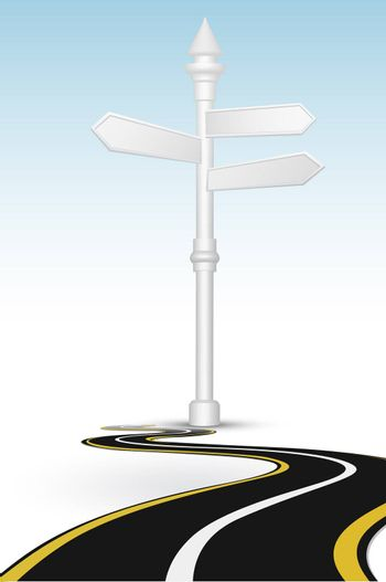 illustration of way with direction board on white background