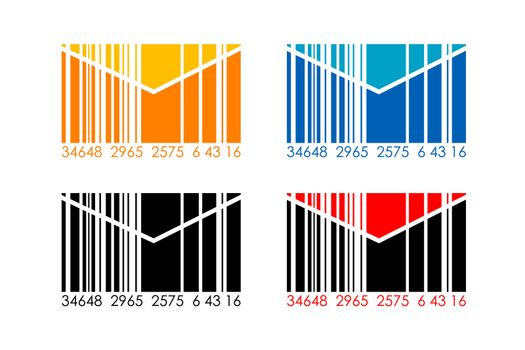 illustration of barcode letters on white background