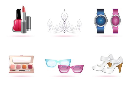 illustration of make up accessories on white background