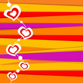 illustration of valentine card on stripped background
