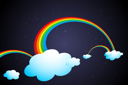 illustration of rainbow in clouds on abstract background