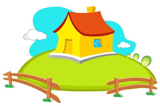 illustration of natural home  on white background
