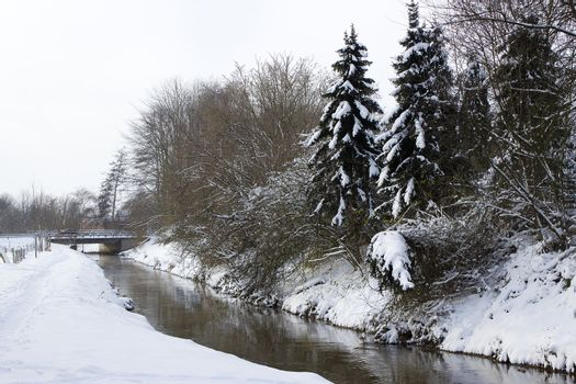 winter landscape with creek