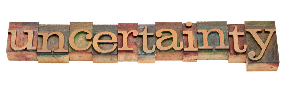 uncertainty word in vintage letterpress type