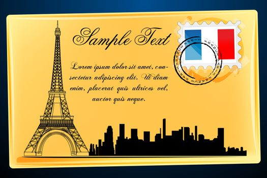 illustration of eiffel tower on envelope