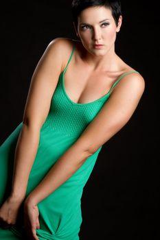 Beautiful woman wearing green dress