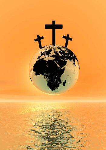 Three crosses for Golgotha on earth planet by sunset