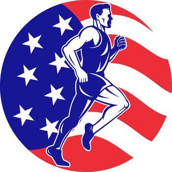 American Marathon runner stars stripes flag