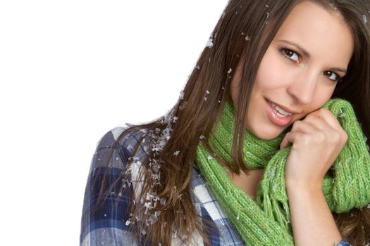 Beautiful winter snow scarf woman