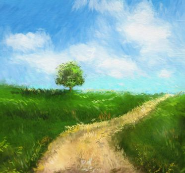 Digital painting of an idyllic  country road