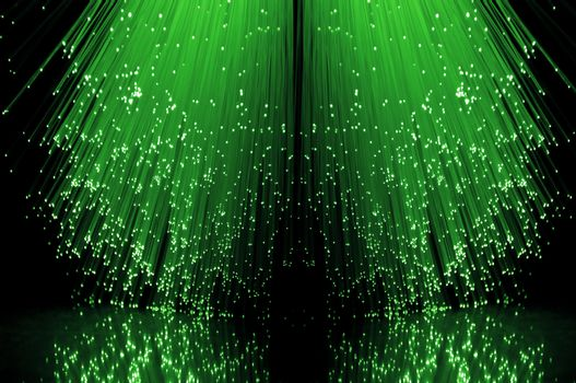 Fibre optical green cascade.