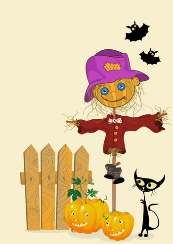 Scarecrow and pumkins, celebration card