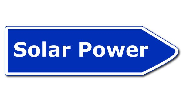 solar or renewabel power and energy concept with sign isolated on white background
