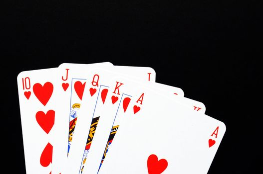 winning concept with four aces on black background