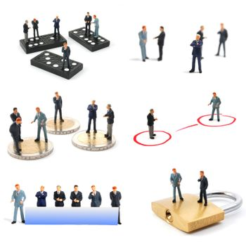 collection of small toy business man showing financial concept