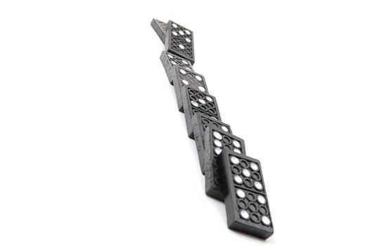 chain of dominoes isolated on a white background