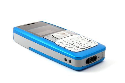 blue cell phone isolated on white background