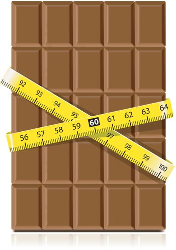 Realistic chocolate with measure tape on white background. Diet concept