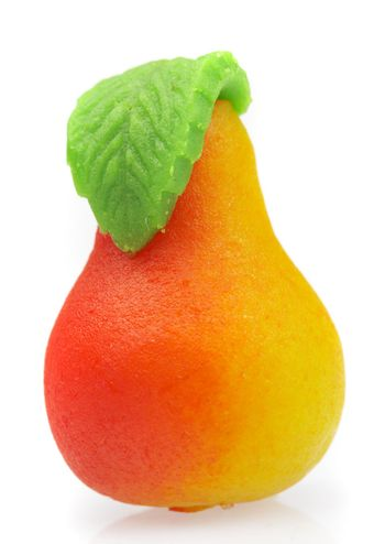 Sweets marzipan. In the form of a pear
