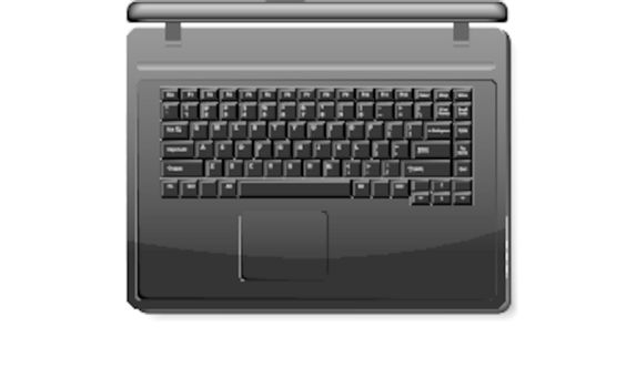 Realistic black laptop isolated on white background (top view)