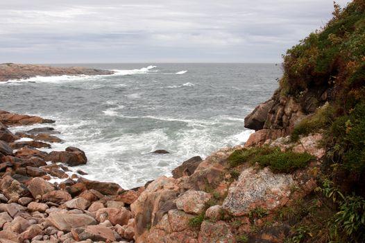 A path on a huge granite outcropping at Green Cove, Cape Breton Highlands national park in Nova Scotia, Canada.