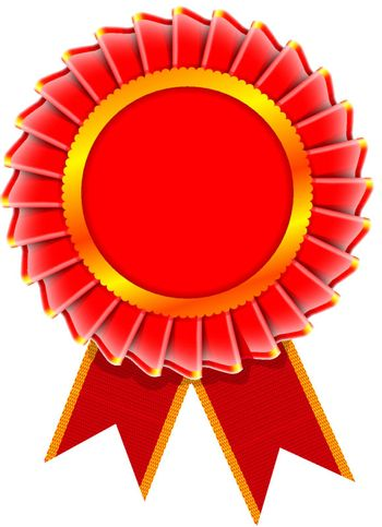 Vector realistic illustration of award rosette isolated on white background
