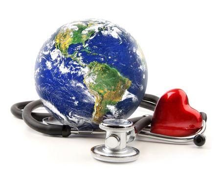 Stethoscope with globe on white