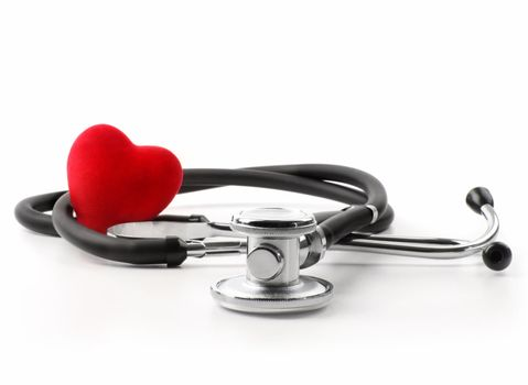 Stethoscope with heart on white