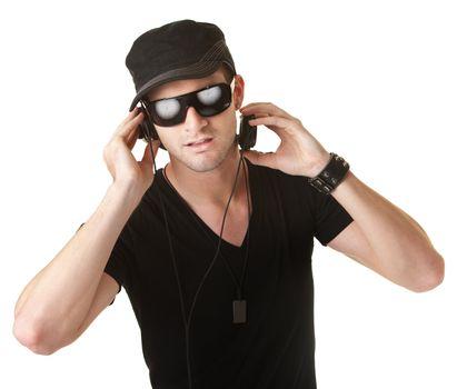 Man Wears Headphones