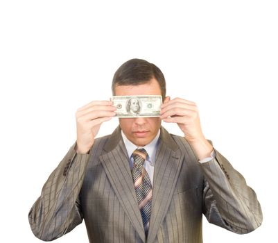 The financial profit has closed eyes to the businessman