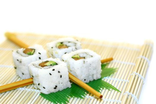 Sushi Rolls structured over white