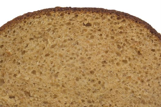 close-up slice of bread, isolated on white