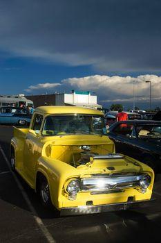Antique Yellow 50s Hotrod Pickup Truck