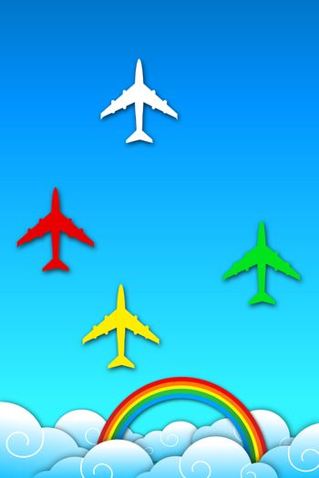 illustration of aeroplane in sky with rainbow on abstract background
