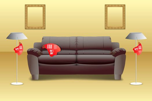 illustration of home accessories with tags
