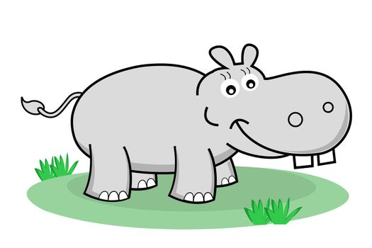 illustration of happy hippopotamus on white background