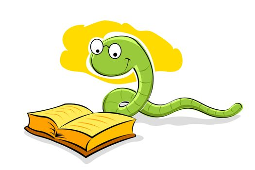 illustration of book with snake on white background